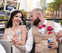 Bride and Groom on a double decker bus in las vegas