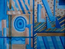 watercolour game in blue and brown