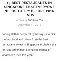 13 Best restaurant in Singapore