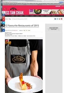 Named as one of the 12 favorite restaurants in Singapore