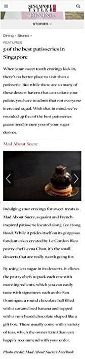 5 of the Best Patisserie in Singapore - http://sg.dining.asiatatler.com/features/5-of-the-patisserie-in-singapore#slide-5