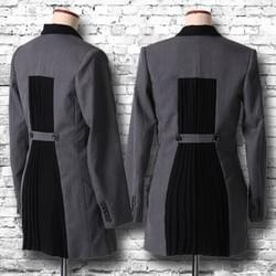"""Pleats"" long jacket / grey"