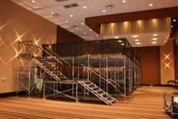 Suspension used to elevate platforms in a ballroom.