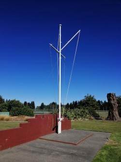 The flagpole named Irirangi, loaned and gifted by the Royal New Zealand Navy