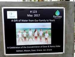 Water Well in Cambodia installed by Mark & Trina Ramsey Foundation through a donation made by Dave & Nancy Hoke in celebration of their grandchildren