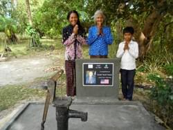 Water well in Cambodia installed by the Mark & Trina Ramsey Foundation through a donation made by Bob & Ellie Pulcini in memory of his father, Quindi