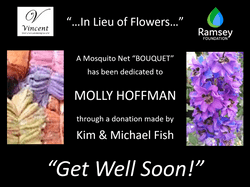 "This ""in lieu of flowers"" mosquito net donation was made by Kim & Michael Fish. These nets, dedicated to Molly Hoffman, serve to protect Cambodian families from Malaria."