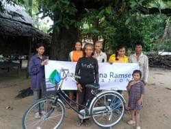 Bike donated so that Cambodia Grandmother depicted above can deliver the noodles she sells for family income