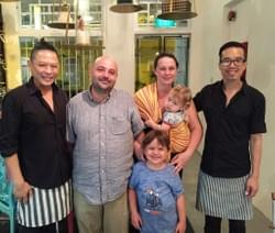 Chef Joannes Riviere of the famed Cuisine Wat Damnak ,  top 43 restaurant in Asia, and his family at Mad About Sucre.