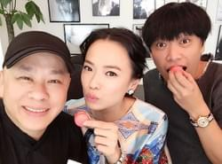 Celebrity Stylist David Gan and Mediacorp Celebrity Felicia Chin munching on Macaroons handcrafted by Mad About Sucre