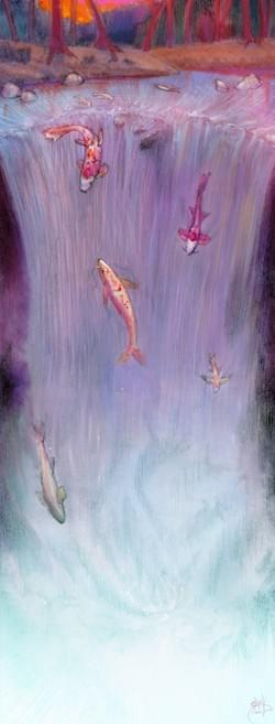 Waterfall Koi Fish (Day time. Night time available too!