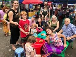 A big group of families joining Yangon Food Tours!