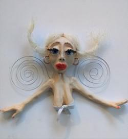 Lou lou. Ceramic 'one off' wall hanging sculpture.