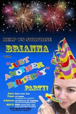 2018 Brianna's birthday party invitation