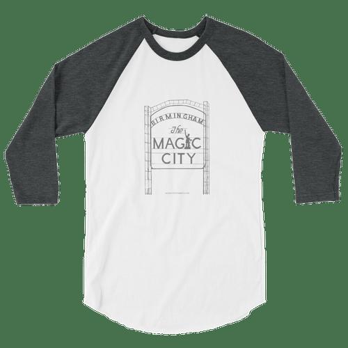 Ragland 3/4 Sleeve Shirt-Gray/White/Gray
