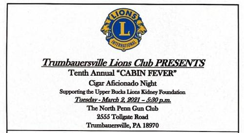 Trumbauersville Lions Club Cigar Night 2021