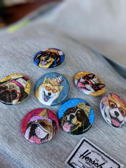 Dogs and Desserts Pinback Button - Set of 7