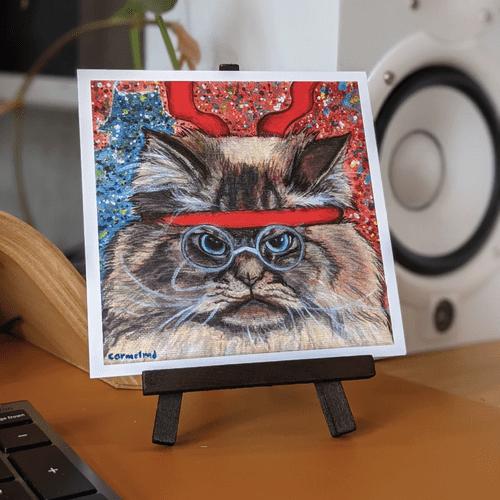 Warriors with Catitude: Angry Cat 5x5 Nerd Art Print