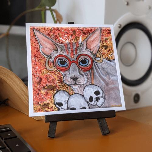 Warriors with Catitude: Yoga Fire Cat 5x5 Nerd Art Print