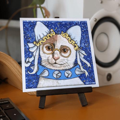 Warriors with Catitude - Cute Cat 5x5 Nerd Art Print