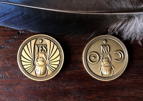 Divination Coin, Yes or No Oracle Coin, Occult Amulet, Magical Egyptian Scarab Talisman for Success