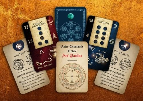Geomantic Cards: Astro Geomantic Oracle Ars Paulina, Magic Divination Cards with Planetary Sigils