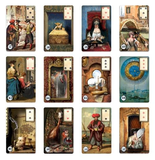 Golden Venetian Lenormand. Unique Oracle cards Inspired by the History of Venetian Carnival.