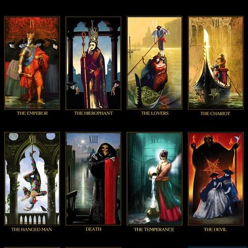 Venetian Tarot deck. Unique occult cards inspired by history of the Venetian Carnival.