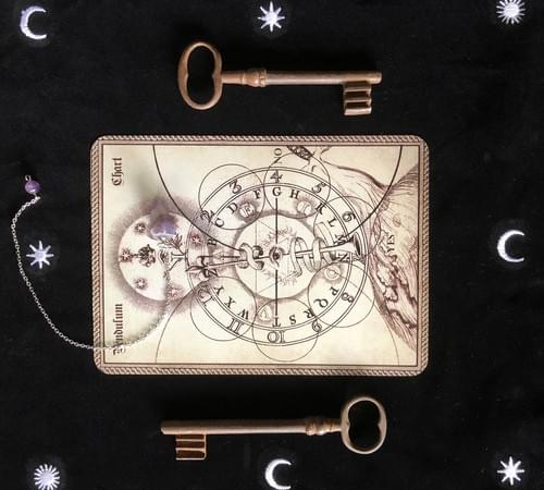 Pendulum Board, Occult Divination Chart, Spirit Board, Dowsing Mat for Prediction, Fortune-Telling