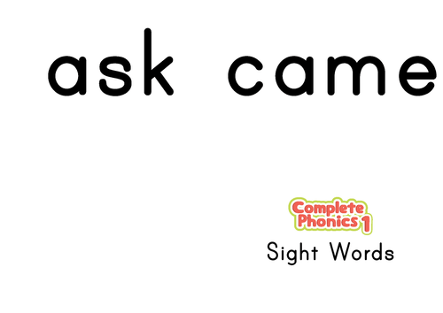 Complete Phonics 1 Sight Words Flashcards