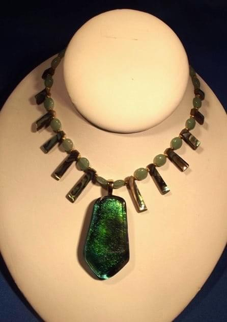#982  Emerald Dichroic Necklace
