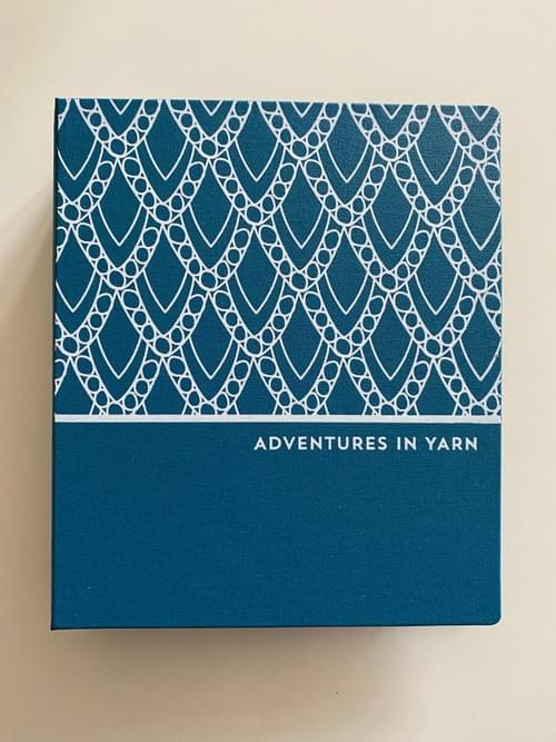 Adventures in Yarn – Teal cloth hand-bound organiser to fit A5