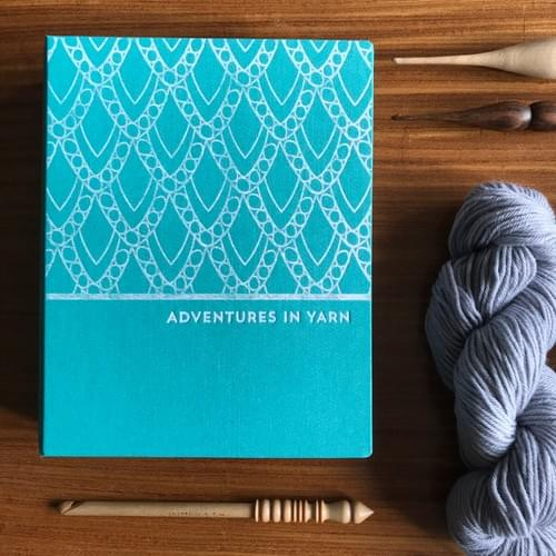 Adventures in Yarn – Turquoise cloth hand-bound organiser to fit A5
