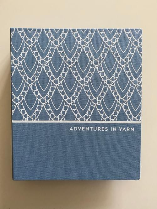 Adventures in Yarn – Grey cloth hand-bound organiser to fit A5