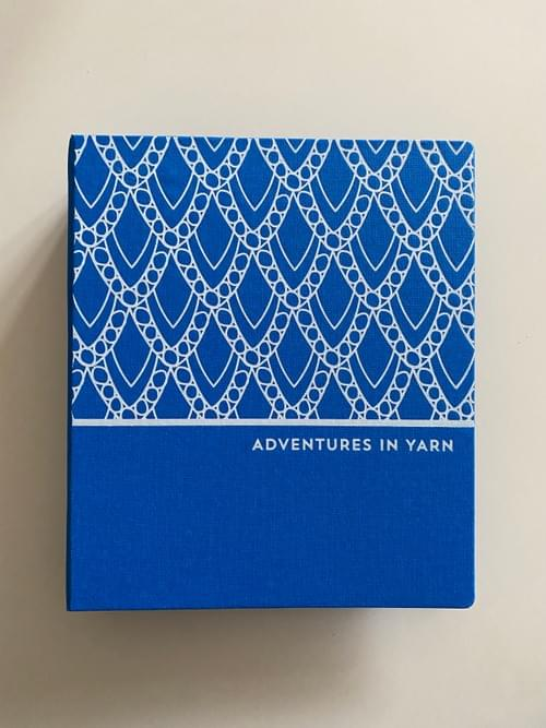 Adventures in Yarn – Blue cloth hand-bound organiser to fit A5
