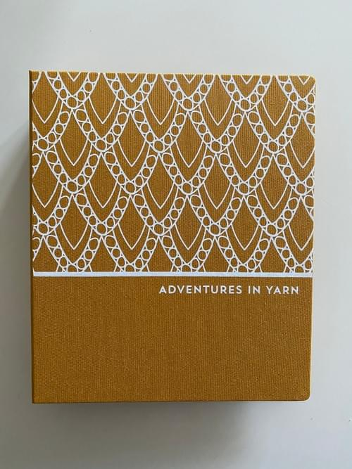 Adventures in Yarn – Mustard cloth hand-bound organiser to fit A5