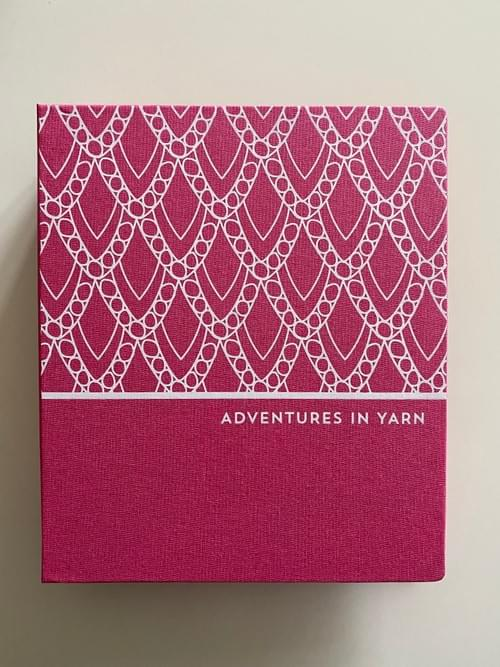 Adventures in Yarn – Fuchsia-pink cloth hand-bound organiser to fit A5