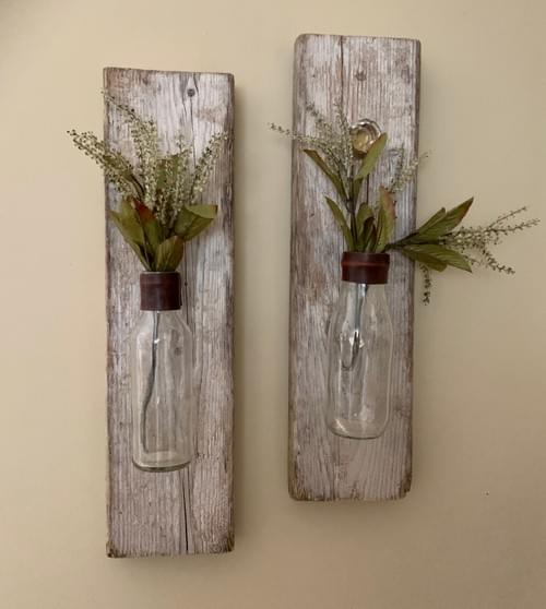 Hanging Wall Vase - Driftwood w/ recycled glass and leather trim