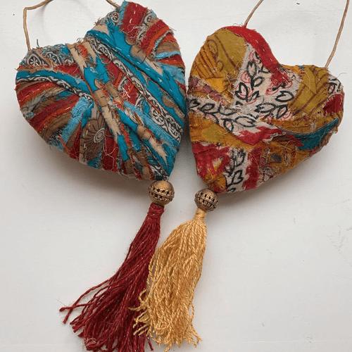Boho Heart with Tassel. - Kantha Fabric Heart Wall Hanging