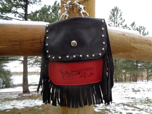 Red and Black Hip bag with flowing embroidered horse.