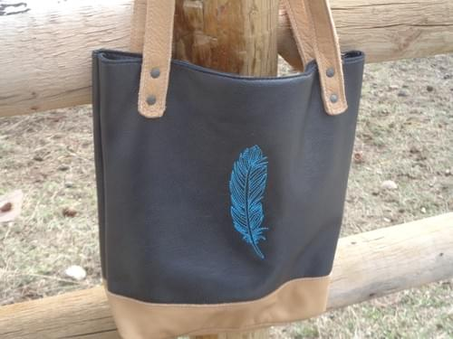 Small leather tote bag.