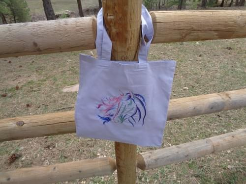 Light purple canvas tote with horse.