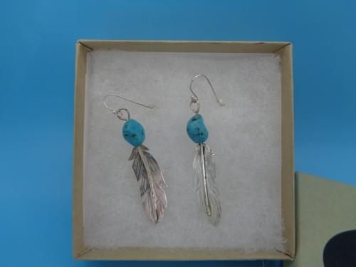 SS feather and turquoise earrings.