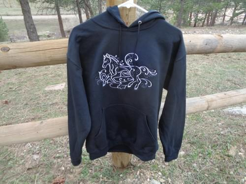 Black size M hooded sweatshirt.