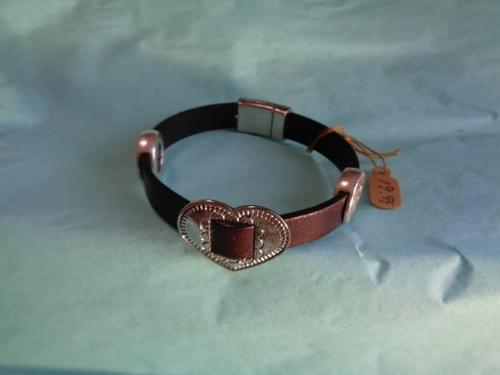 Dark brown bracelet with heart and horse clasp.