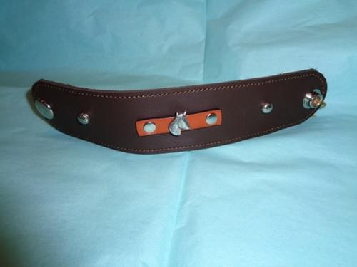 Dark brown leather bracelet with horse head.
