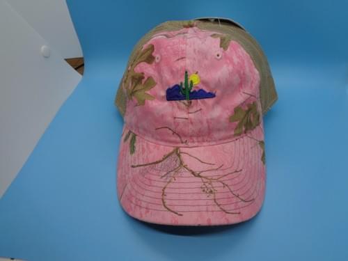 Pink camo hat.