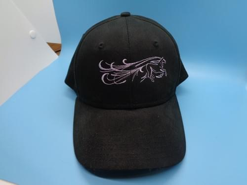 Hat with embroidered horse.