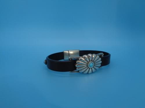 Dark brown leather bracelet with turquoise and silver concho.