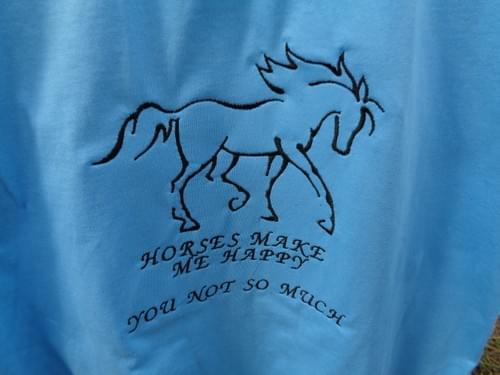 Turquoise t-shirt. Horses make me happy; you not so much.